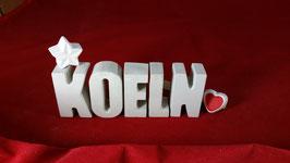 Beton, Steinguss Buchstaben 3D Deko Stern Namen KOELN als Geschenk verpackt!