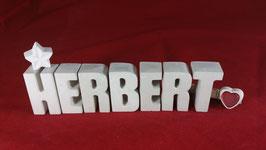 Beton, Steinguss Buchstaben 3D Deko Namen HERBERT als Geschenk verpackt!