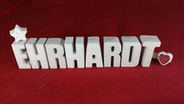 Beton, Steinguss Buchstaben 3D Deko Namen EHRHARDT als Geschenk verpackt!