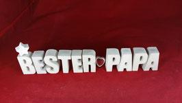 Beton, Steinguss Buchstaben 3D Deko Stern Namen BESTER PAPA als Geschenk verpackt!