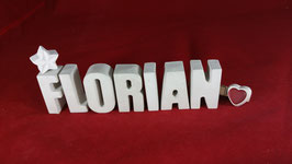 Beton, Steinguss Buchstaben 3D Deko Namen FLORIAN als Geschenk verpackt!