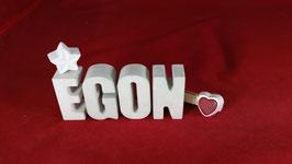 Beton, Steinguss Buchstaben 3D Deko Namen EGON als Geschenk verpackt!