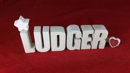 Beton, Steinguss Buchstaben 3D Deko Namen LUDGER als Geschenk verpackt!