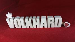 Beton, Steinguss Buchstaben 3D Deko Namen VOLKHARD als Geschenk verpackt!