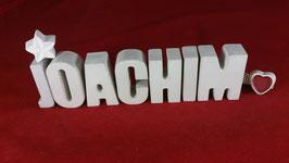 Beton, Steinguss Buchstaben 3D Deko Namen JOACHIM als Geschenk verpackt!