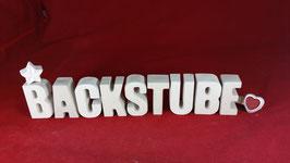 Beton, Steinguss Buchstaben 3D Deko Stern Namen BACKSTUBE als Geschenk verpackt!