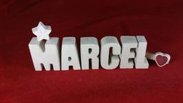 Beton, Steinguss Buchstaben 3D Deko Namen MARCEL als Geschenk verpackt!