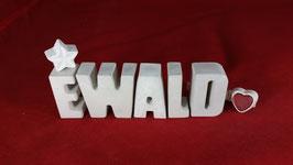 Beton, Steinguss Buchstaben 3D Deko Namen EWALD als Geschenk verpackt!