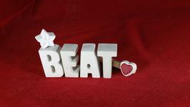Beton, Steinguss Buchstaben 3D Deko Namen BEAT als Geschenk verpackt!