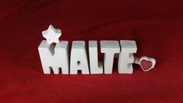 Beton, Steinguss Buchstaben 3D Deko Namen MALTE als Geschenk verpackt!