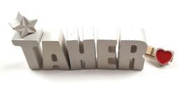 Beton, Steinguss Buchstaben 3D Deko Namen TAHER als Geschenk verpackt!