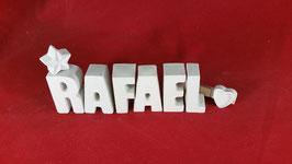 Beton, Steinguss Buchstaben 3D Deko Namen RAFAEL als Geschenk verpackt!
