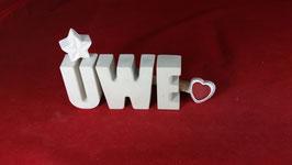Beton, Steinguss Buchstaben 3D Deko Namen UWE als Geschenk verpackt!