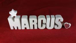 Beton, Steinguss Buchstaben 3D Deko Namen MARCUS als Geschenk verpackt!