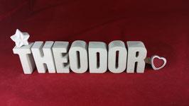 Beton, Steinguss Buchstaben 3D Deko Namen THEODOR als Geschenk verpackt!