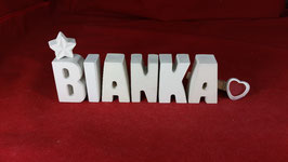 Beton, Steinguss Buchstaben 3D Deko Stern Namen BIANKA als Geschenk verpackt!