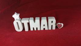 Beton, Steinguss Buchstaben 3D Deko Namen OTMAR als Geschenk verpackt!