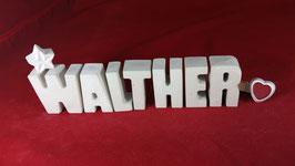 Beton, Steinguss Buchstaben 3D Deko Namen WALTHER als Geschenk verpackt!