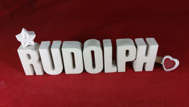 Beton, Steinguss Buchstaben 3D Deko Namen RUDOLPH als Geschenk verpackt!