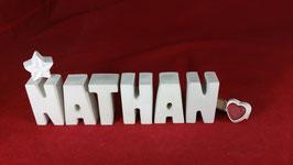 Beton, Steinguss Buchstaben 3D Deko Namen NATHAN als Geschenk verpackt!