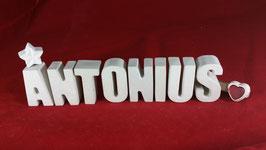 Beton, Steinguss Buchstaben 3D Deko Namen ANTONIUS als Geschenk verpackt!