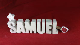 Beton, Steinguss Buchstaben 3D Deko Namen SAMUEL als Geschenk verpackt!