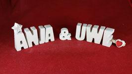 Beton, Steinguss Buchstaben 3D Deko Stern Namen ANJA & UWE als Geschenk verpackt!