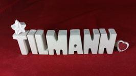 Beton, Steinguss Buchstaben 3D Deko Namen TILMANN als Geschenk verpackt!
