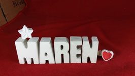 Beton, Steinguss Buchstaben 3D Deko Namen MAREN als Geschenk verpackt mit Stern und Herzklammer!