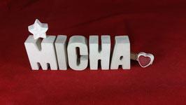 Beton, Steinguss Buchstaben 3D Deko Namen MICHA als Geschenk verpackt!