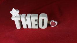 Beton, Steinguss Buchstaben 3D Deko Namen THEO als Geschenk verpackt!