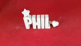 Beton, Steinguss Buchstaben 3D Deko Namen PHIL als Geschenk verpackt!