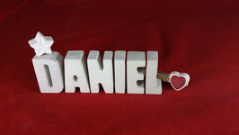 Beton, Steinguss Buchstaben 3D Deko Namen DANIEL als Geschenk verpackt!