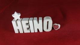 Beton, Steinguss Buchstaben 3D Deko Namen HEINO als Geschenk verpackt!