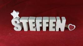 Beton, Steinguss Buchstaben 3D Deko Namen STEFFEN als Geschenk verpackt!