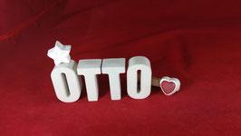 Beton, Steinguss Buchstaben 3D Deko Namen OTTO als Geschenk verpackt!