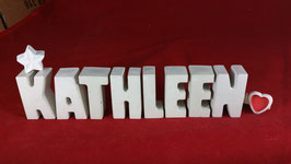 Beton, Steinguss Buchstaben 3D Deko Namen KATHLEEN als Geschenk verpackt mit Stern und Herzklammer!