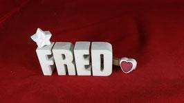 Beton, Steinguss Buchstaben 3D Deko Namen FRED als Geschenk verpackt!
