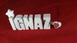 Beton, Steinguss Buchstaben 3D Deko Namen IGNAZ als Geschenk verpackt!