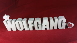 Beton, Steinguss Buchstaben 3D Deko Namen WOLFGANG als Geschenk verpackt!