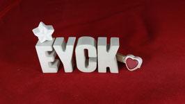Beton, Steinguss Buchstaben 3D Deko Namen EYCK als Geschenk verpackt!
