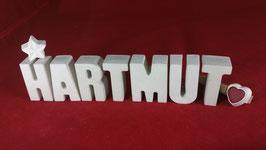 Beton, Steinguss Buchstaben 3D Deko Namen HARTMUT als Geschenk verpackt!