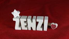Beton, Steinguss Buchstaben 3D Deko Namen ZENZI als Geschenk verpackt mit Stern und Herzklammer!
