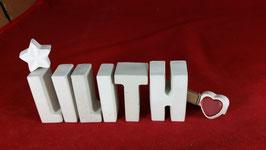 Beton, Steinguss Buchstaben 3D Deko Namen LILITH als Geschenk verpackt mit Stern und Herzklammer!