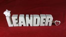 Beton, Steinguss Buchstaben 3D Deko Namen LEANDER als Geschenk verpackt!