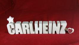 Beton, Steinguss Buchstaben 3D Deko Namen CARLHEINZ als Geschenk verpackt!