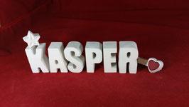 Beton, Steinguss Buchstaben 3D Deko Stern Namen KASPER als Geschenk verpackt!