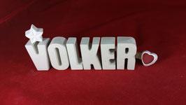 Beton, Steinguss Buchstaben 3D Deko Namen VOLKER als Geschenk verpackt!