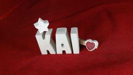 Beton, Steinguss Buchstaben 3D Deko Namen KAI als Geschenk verpackt!