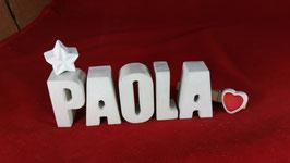 Beton, Steinguss Buchstaben 3D Deko Namen PAOLA als Geschenk verpackt mit Stern und Herzklammer!